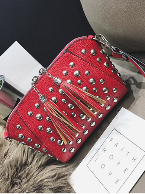 fancy PU Leather Tassel Studded Clutch Bag -   Mobile