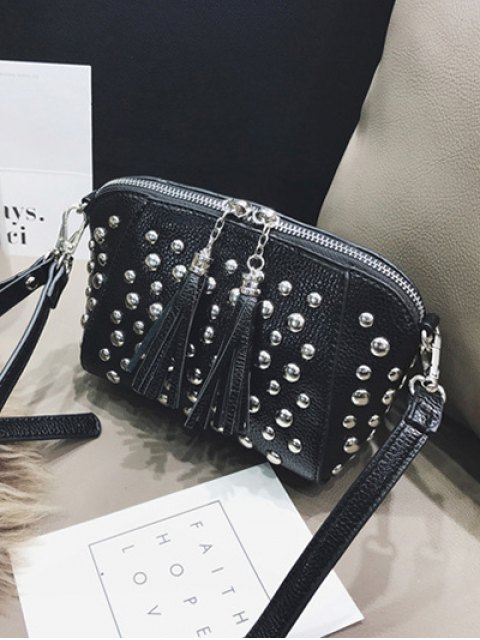 affordable PU Leather Tassel Studded Clutch Bag -   Mobile