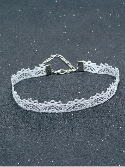 buy Lace Hollowed Choker - WHITE  Mobile