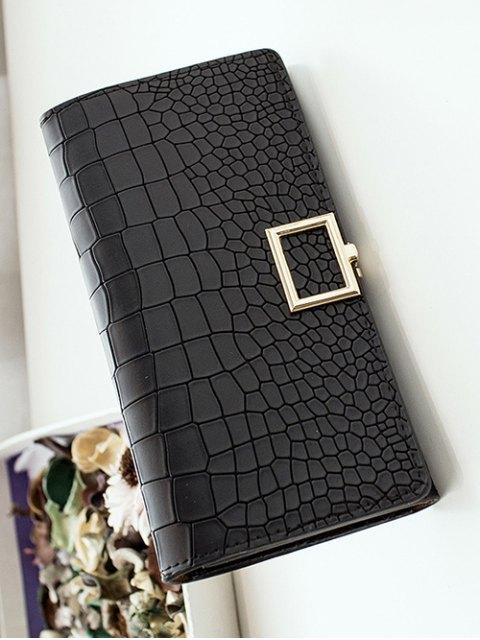 shop Stone Pattern Tri Fold Wallet - BLACK  Mobile