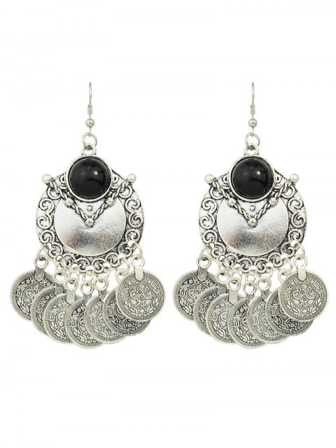 outfits Disc Fringe Drop Earrings - SILVER  Mobile