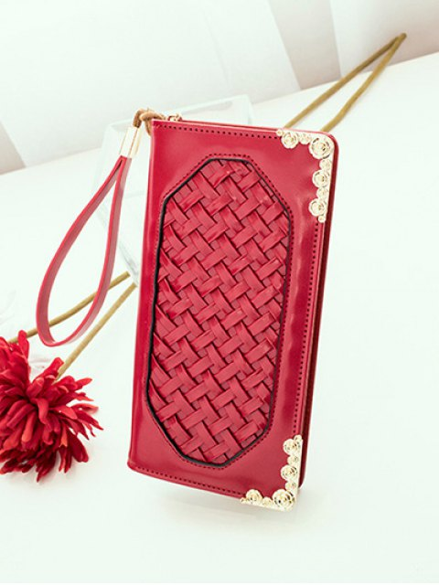trendy Woven PU Leather Clutch Wallet - RED  Mobile