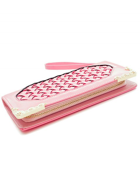 fashion Woven PU Leather Clutch Wallet - PINK  Mobile