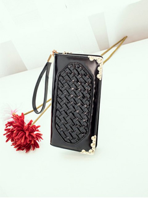 chic Woven PU Leather Clutch Wallet - BLACK  Mobile