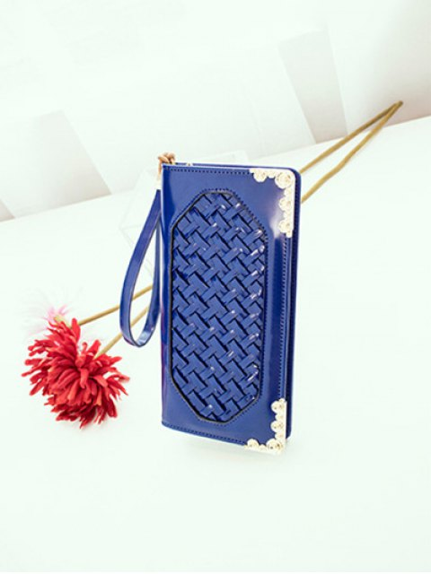 fancy Woven PU Leather Clutch Wallet - BLUE  Mobile