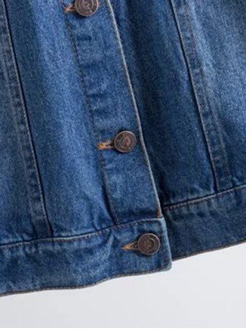 latest Flower Embroidered Pockets Denim Jacket - DENIM BLUE M Mobile