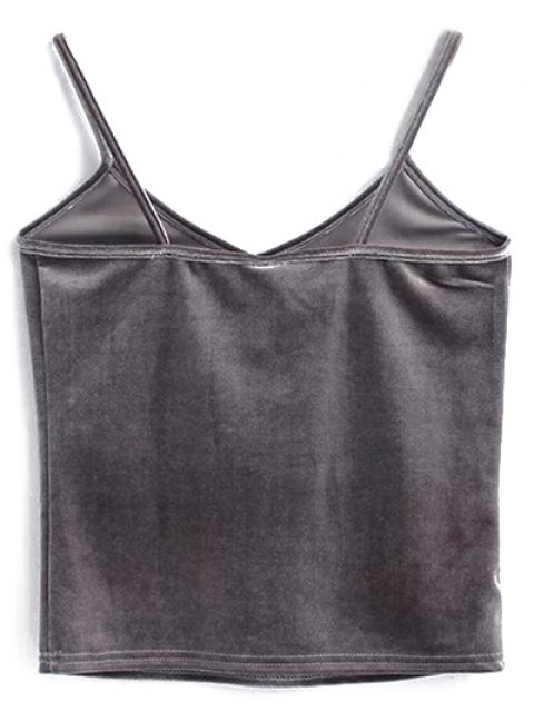 women's Velvet Cropped Cami Top - GRAY ONE SIZE Mobile