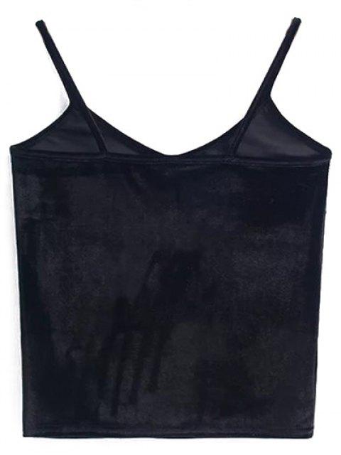 ladies Velvet Cropped Cami Top - BLACK ONE SIZE Mobile