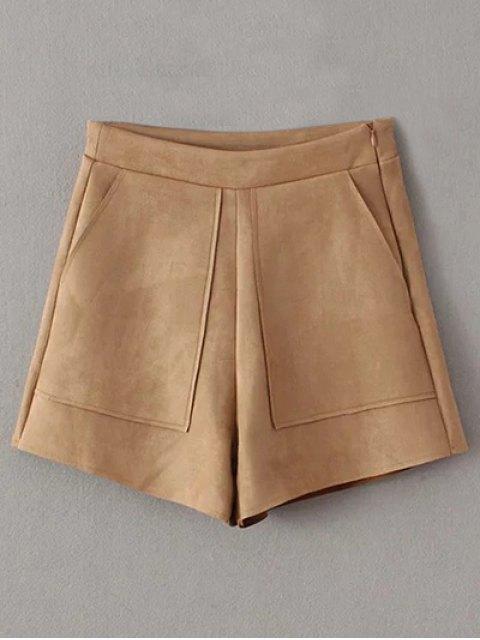 best Suede Pockets Shorts - KHAKI M Mobile