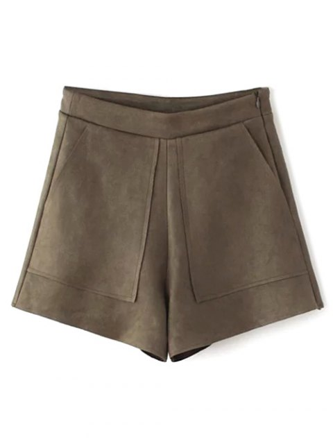 outfit Suede Pockets Shorts - COFFEE S Mobile
