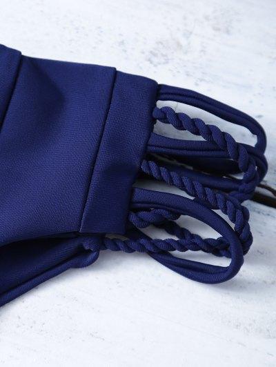Strappy Cross Criss Bikini Set - PURPLISH BLUE L Mobile