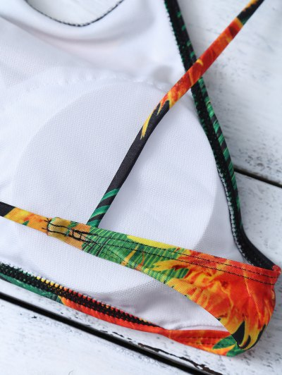 Cami Tropical Print Bikini Set - GREEN L Mobile