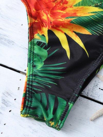 Cami Tropical Print Bikini Set - GREEN M Mobile