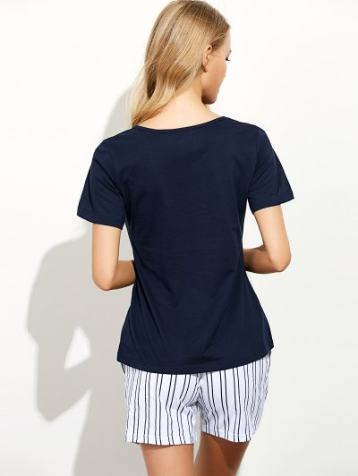 Cartoon Print T-Shirt and Striped Shorts - BLUE M Mobile