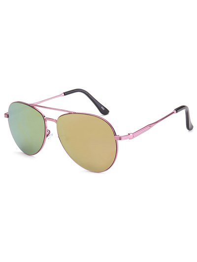 Metal Crossbar Pilot Mirrored Sunglasses - PINK  Mobile