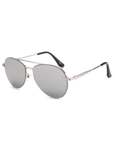 Metal Crossbar Pilot Mirrored Sunglasses - SILVER  Mobile