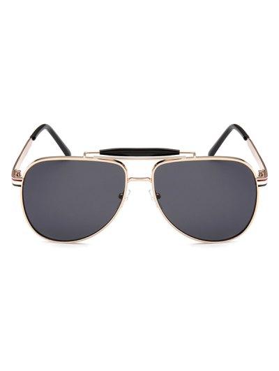 Pencil Leg Crossbar Pilot Sunglasses - BLACK GREY  Mobile