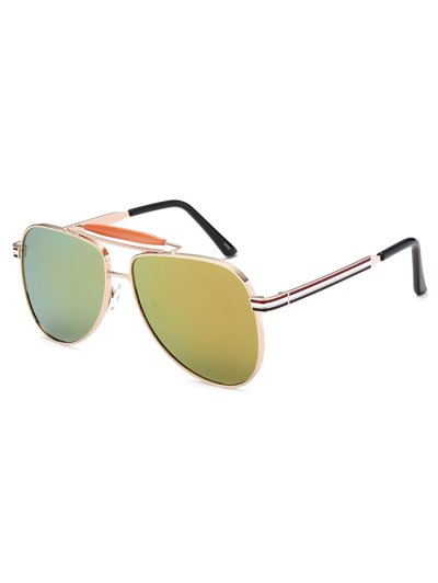 Pencil Leg Pilot Mirrored Sunglasses - GOLDEN  Mobile