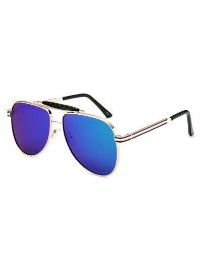 Pencil Leg Pilot Mirrored Sunglasses - BLUE  Mobile