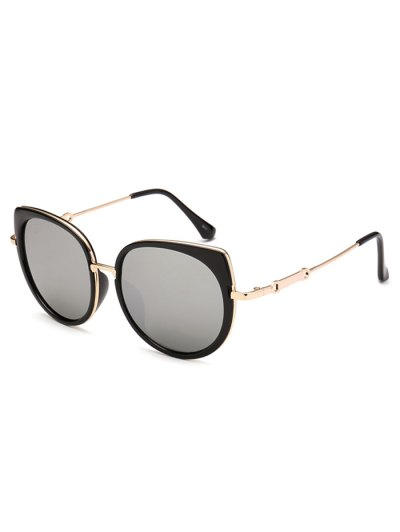 Cat Eye Mirrored Sunglasses - SILVER  Mobile