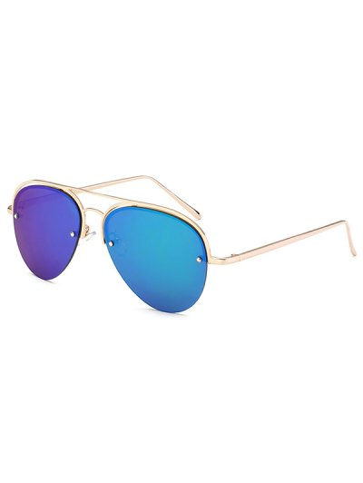Half Frame Pilot Mirrored Sunglasses - ICE BLUE  Mobile