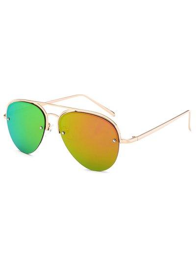 Half Frame Pilot Mirrored Sunglasses - ORANGE  Mobile