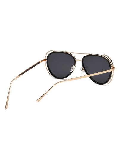 Hollow Out Frame Pilot Sunglasses - BLACK  Mobile