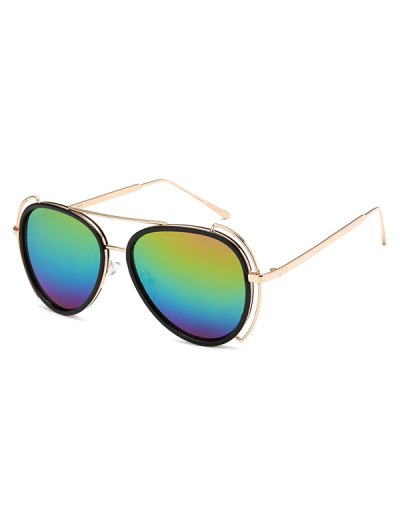 Hollow Out Frame Pilot Mirrored Sunglasses - COLORFUL  Mobile