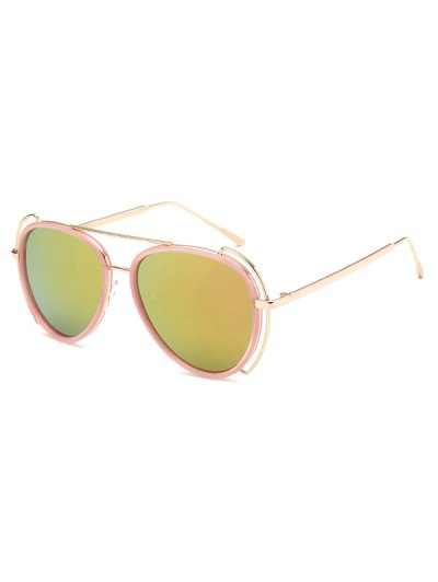 Hollow Out Frame Pilot Mirrored Sunglasses - PINK  Mobile