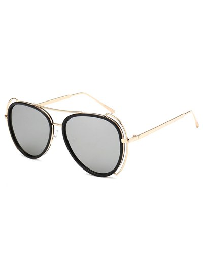 Hollow Out Frame Pilot Mirrored Sunglasses - SILVER  Mobile