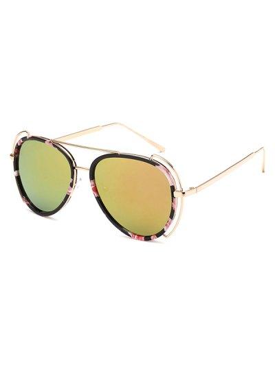 Floral Frame Pilot Mirrored Sunglasses - GOLDEN  Mobile