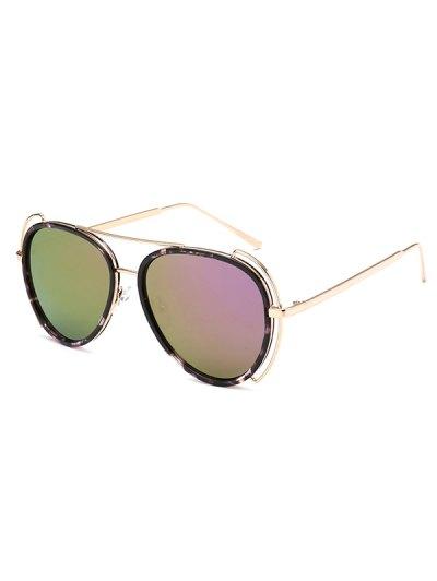Floral Frame Pilot Mirrored Sunglasses - LIGHT PURPLE  Mobile