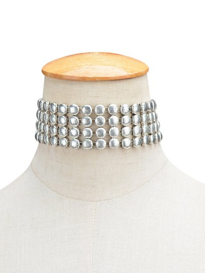 Round Metallic Choker - SILVER  Mobile