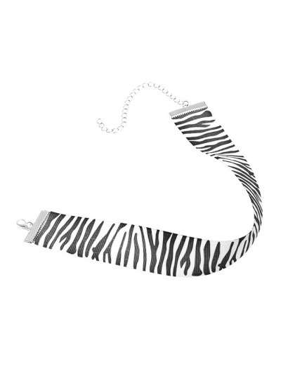 Zebra Stripe Cloth Choker - BLACK  Mobile