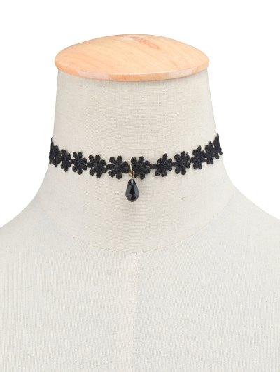 Daisy Lace Necklace - BLACK  Mobile