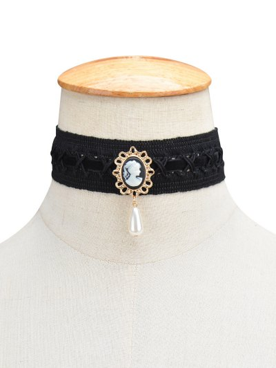 Faux Pearl Queenly Portrait Choker - BLACK  Mobile