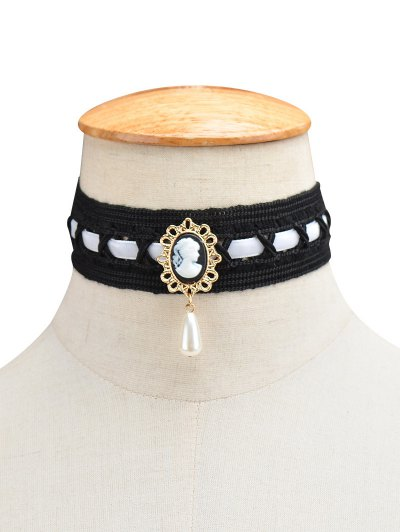 Faux Pearl Queenly Portrait Choker - WHITE  Mobile