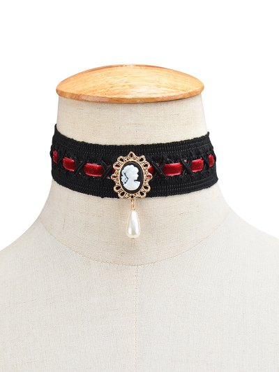 Faux Pearl Queenly Portrait Choker - WINE RED  Mobile