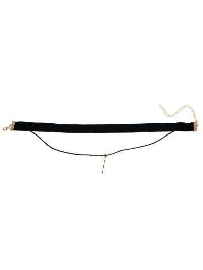 Layered Velvet Choker - BLACK  Mobile