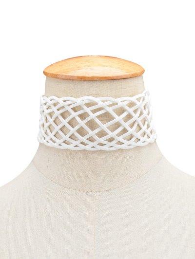 Braided Grid Choker - WHITE  Mobile