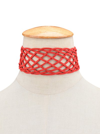 Braided Grid Choker - RED  Mobile