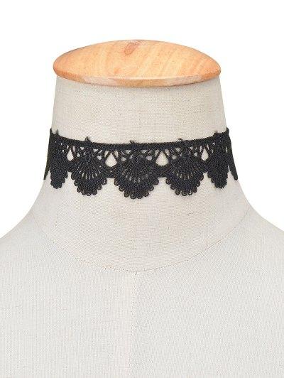 Scalloped Lace Choker - BLACK  Mobile