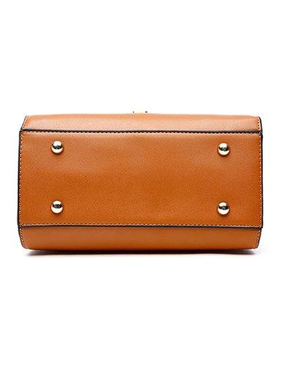 PU Leather Metal Crossbody Handbag - BROWN  Mobile