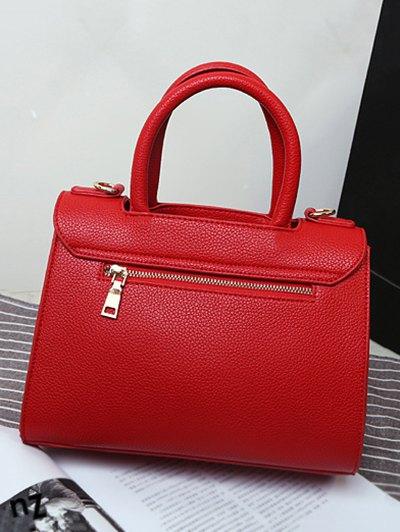 Metal Heart PU Leather Handbag - RED  Mobile