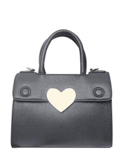 Metal Heart PU Leather Handbag - GRAY  Mobile