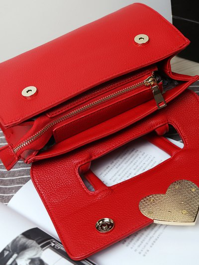 Metal Heart PU Leather Handbag - BLACK  Mobile