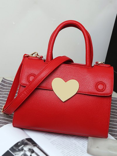 Metal Heart PU Leather Handbag - DEEP PINK  Mobile