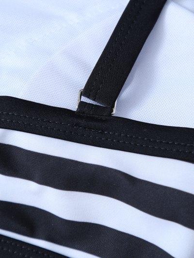 High Neck Stripe Bikini Set - WHITE AND BLACK L Mobile