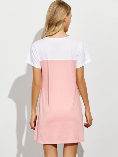 Lettering Short Sleeve Lounge Tee Dress - PINK XL Mobile