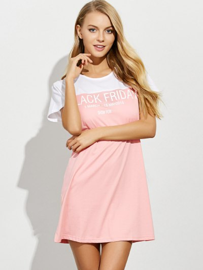 Lettering Short Sleeve Lounge Tee Dress - PINK S Mobile